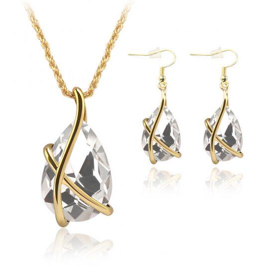 Austria kristallidega kaelaehte ja kõrvarõngaste komplekt-0