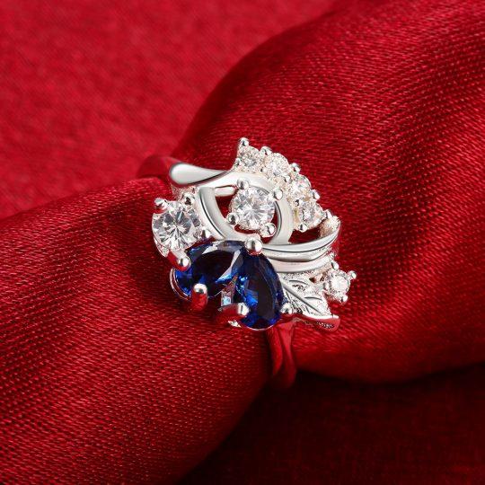 925 hõbe sõrmus (siniste kividega)-8636