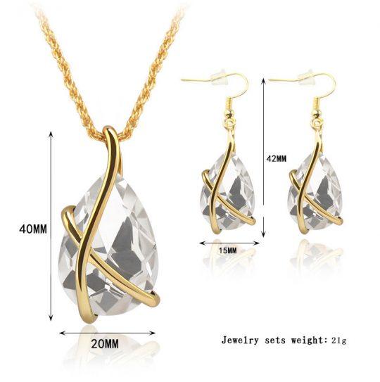 Austria kristallidega kaelaehte ja kõrvarõngaste komplekt-7167