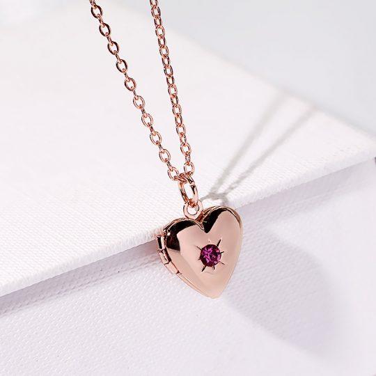 Avatav kaelaehe-medaljon (kuldne roosa kiviga)-8170
